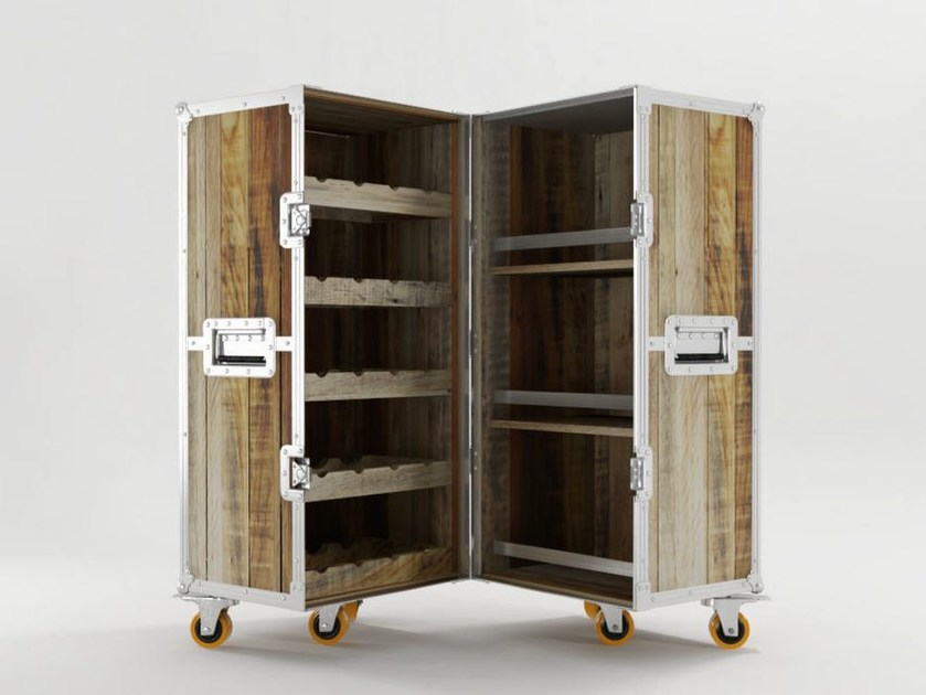 Wooden bar cabinet with casters ROADIE | Bar cabinet - KARPENTER