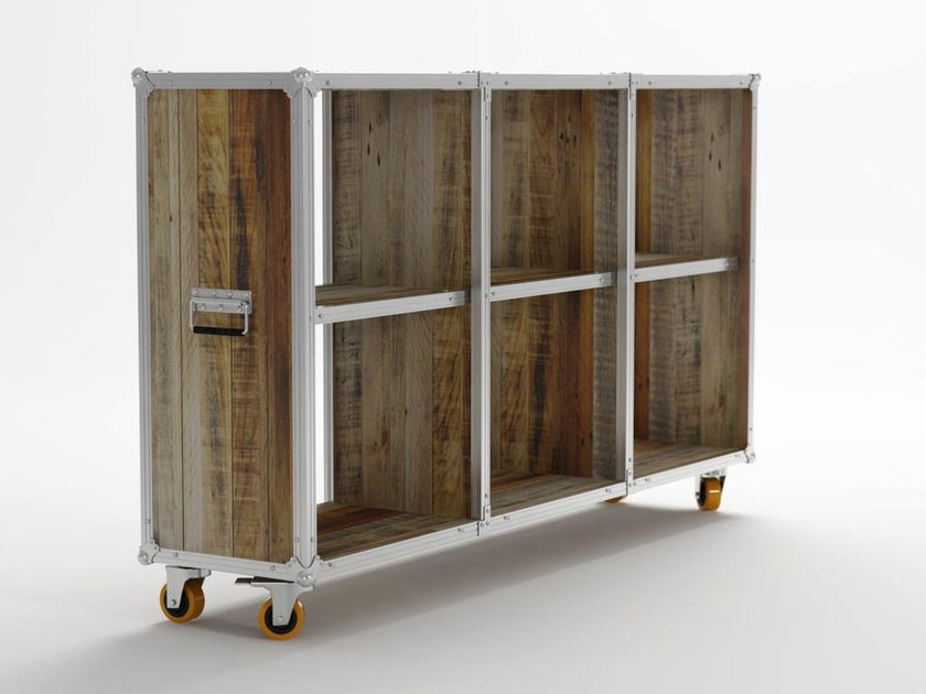 Open wooden bookcase with casters ROADIE | Bookcase with casters - KARPENTER