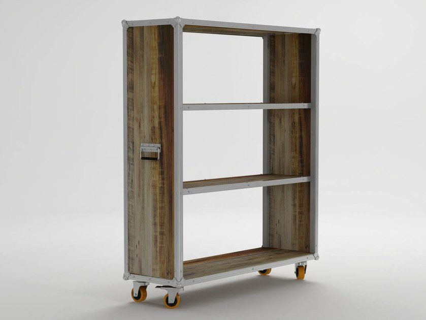 Open wooden bookcase with casters ROADIE | Open bookcase - KARPENTER