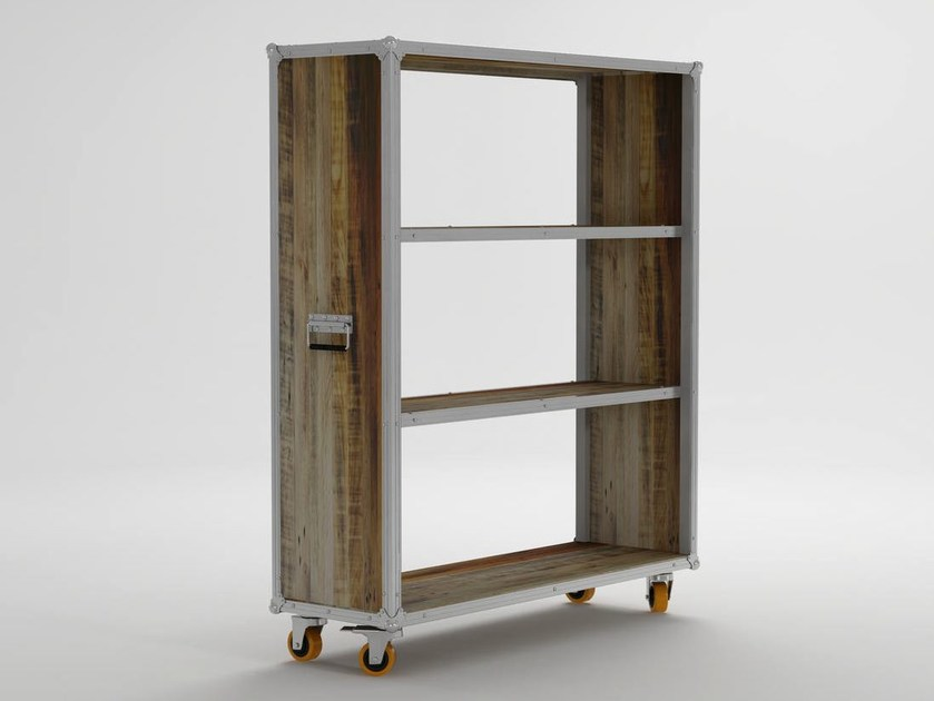 Open wooden bookcase with casters ROADIE | Open bookcase by KARPENTER