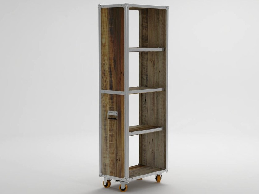 Freestanding wooden bookcase with casters ROADIE | Freestanding bookcase - KARPENTER