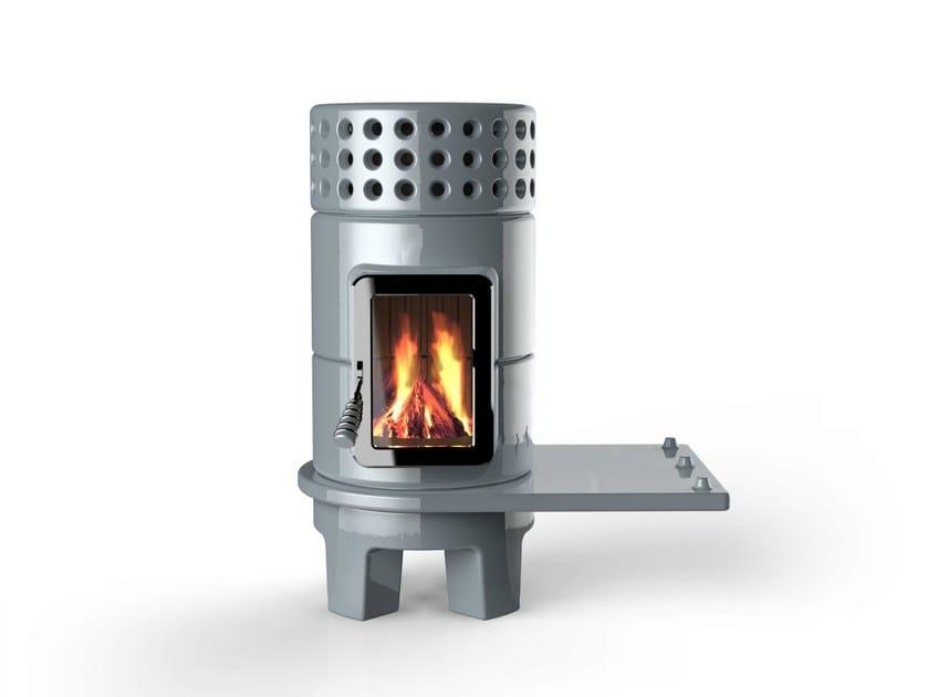 Wood-burning ceramic stove ROUNDSTACK SIDE - LA CASTELLAMONTE STUFE