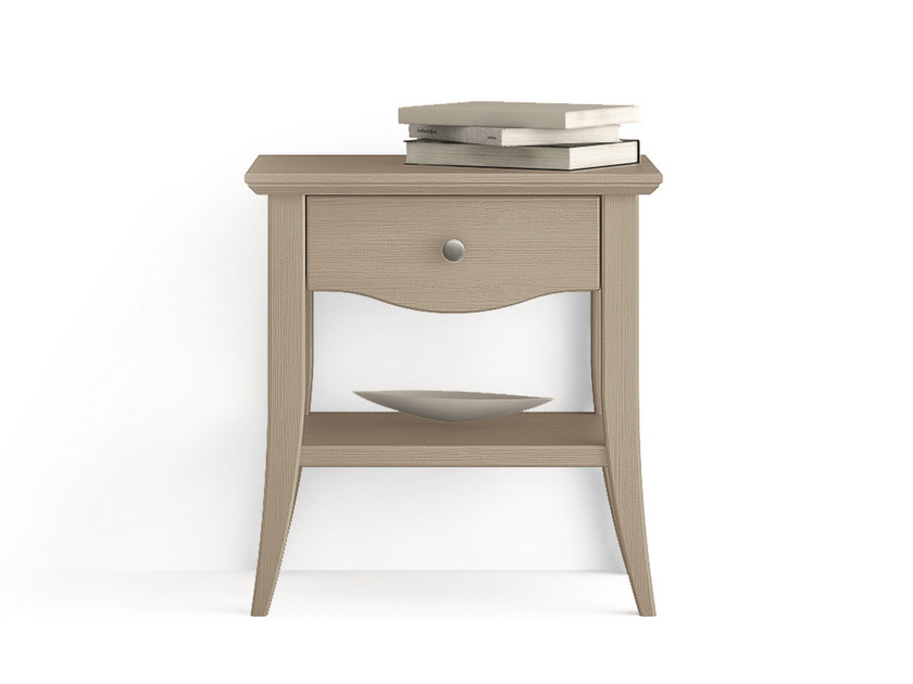 Rectangular wooden bedside table with drawers ARCANDA | Bedside table - Scandola Mobili