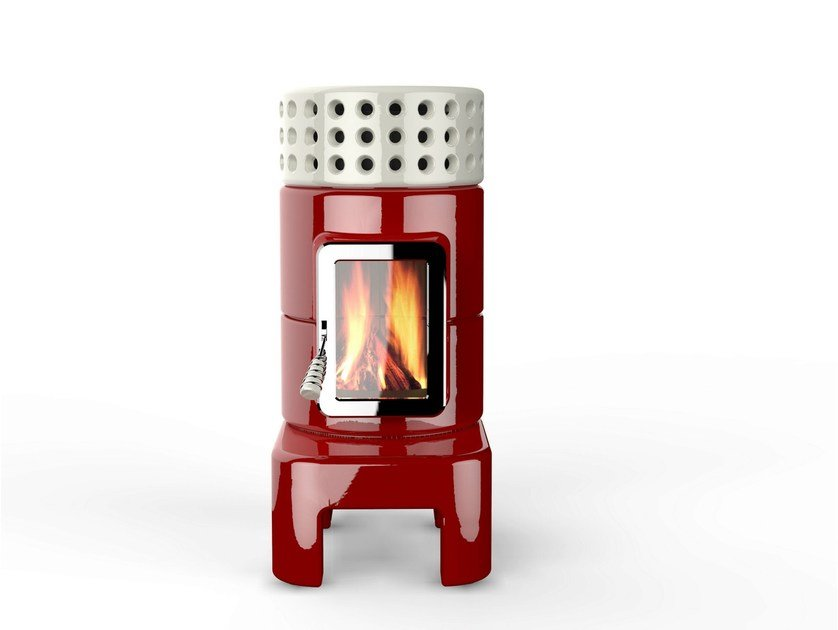 Wood-burning ceramic stove ROUNDSTACK LONG by LA CASTELLAMONTE