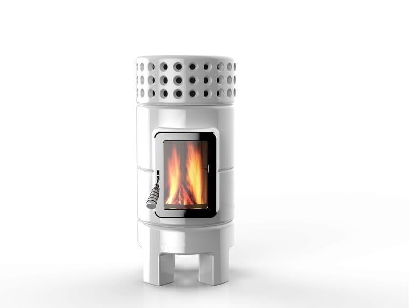 Wood-burning ceramic stove ROUNDSTACK SLIM - LA CASTELLAMONTE STUFE