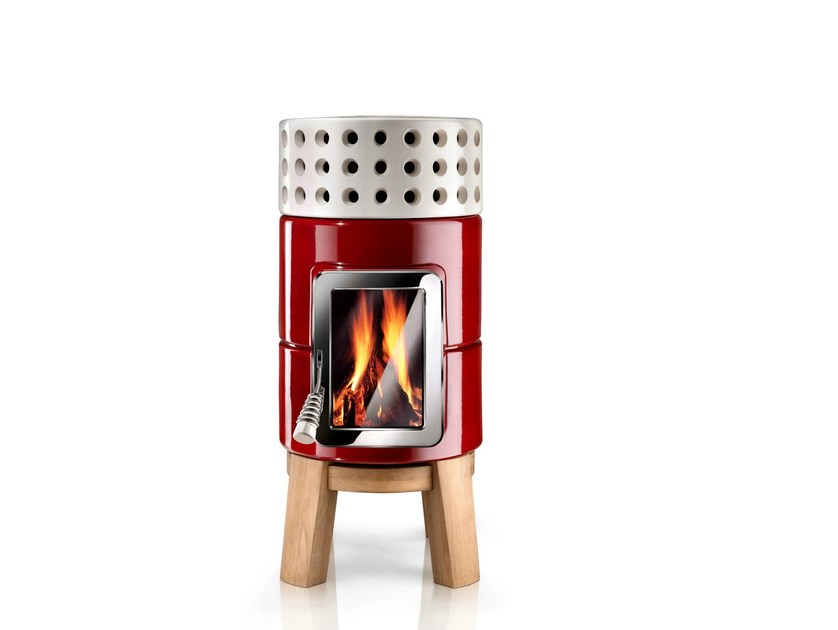 Wood-burning ceramic stove ROUNDSTACK WOOD - LA CASTELLAMONTE STUFE