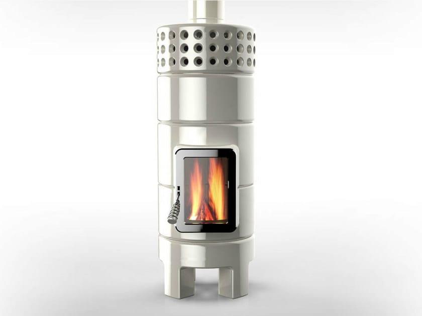 Wood-burning ceramic stove ROUNDSTACK 2°SIZE - LA CASTELLAMONTE STUFE