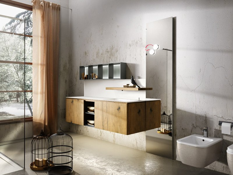 Wall-mounted oak vanity unit with doors MAIA 301 - Edoné by Agorà Group