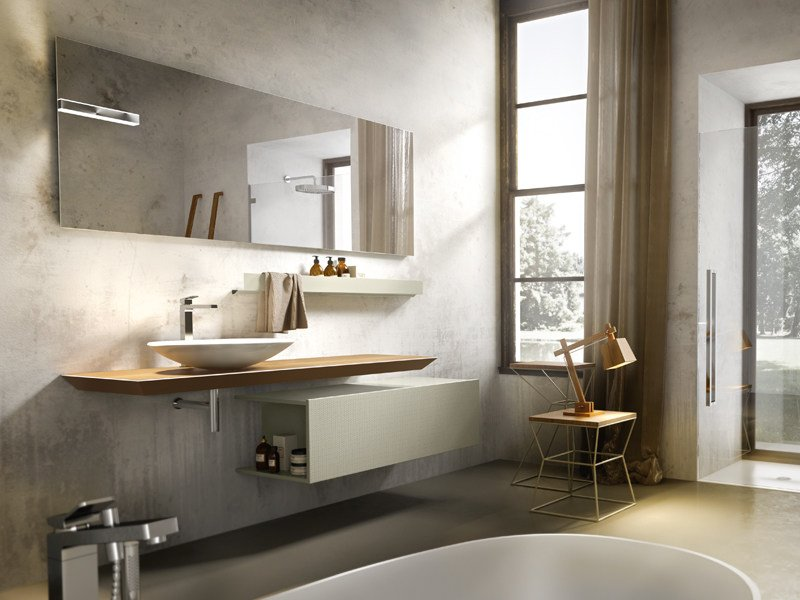 Lacquered wall-mounted vanity unit MAIA 304 - Edoné by Agorà Group
