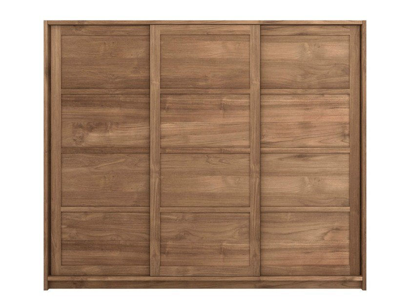 Teak wardrobe with sliding doors TEAK KNOCKDOWN | Wardrobe with sliding doors - Ethnicraft