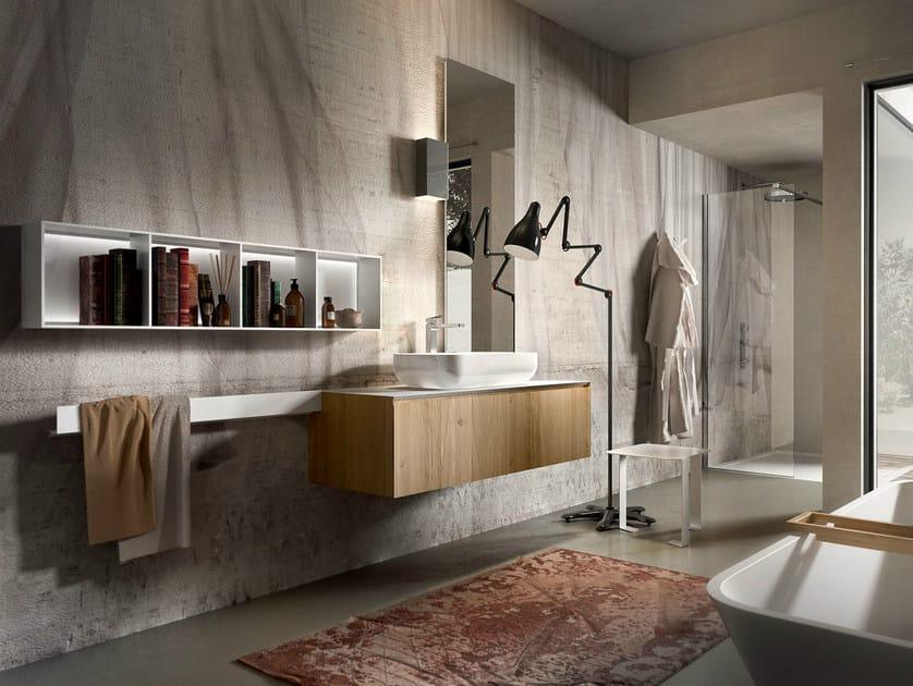Wall-mounted oak vanity unit CHRONO 307 - Edoné by Agorà Group