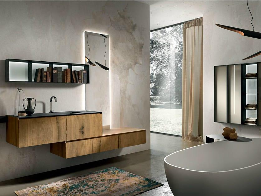 Wall-mounted oak vanity unit CHRONO 310 - Edoné by Agorà Group