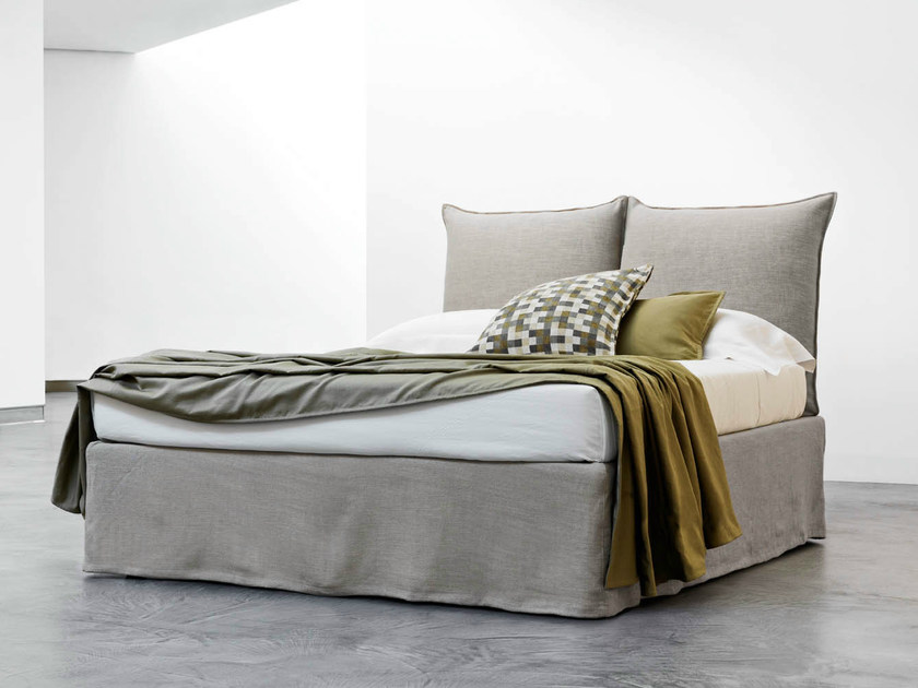 Double bed with upholstered headboard MILOS | Double bed - Orizzonti Italia