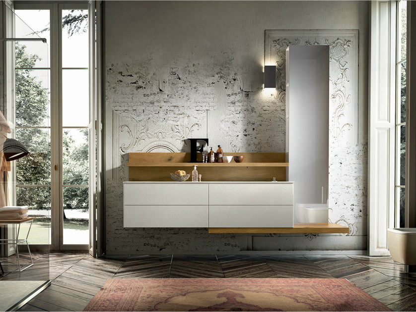 Wall-mounted vanity unit with mirror ENEA 315 - Edoné by Agorà Group
