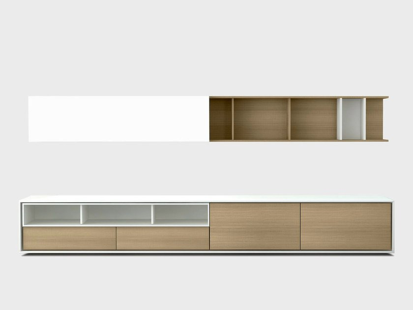 Contemporary style wooden storage wall AURA C6-2 by TREKU