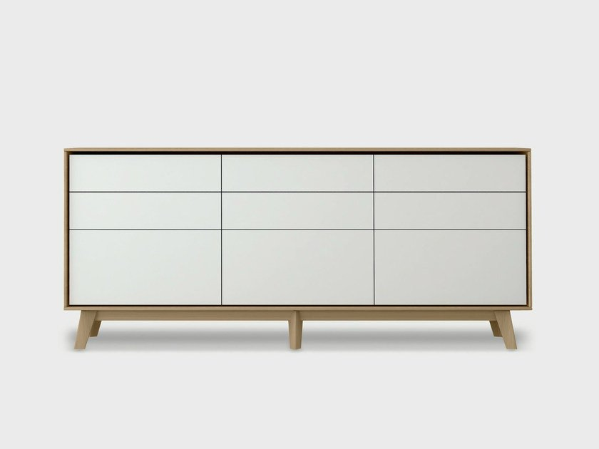 Lacquered solid wood sideboard AURA S2-3 by TREKU