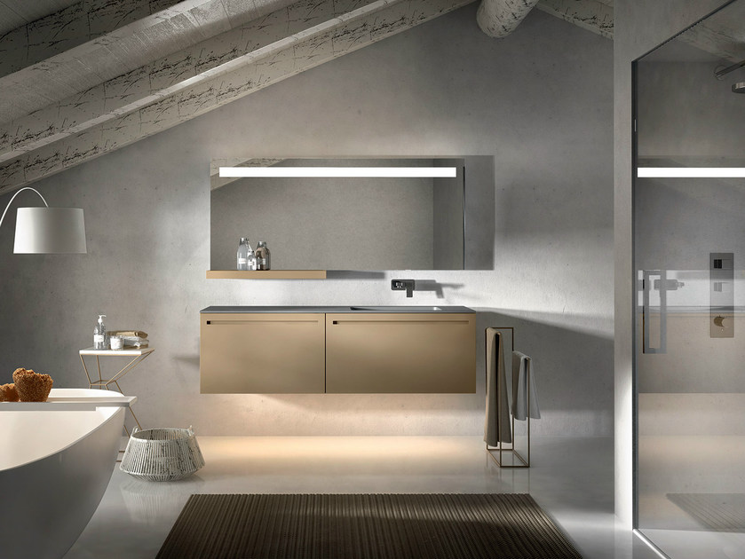Lacquered wall-mounted vanity unit with mirror KER 317 - Edoné by Agorà Group