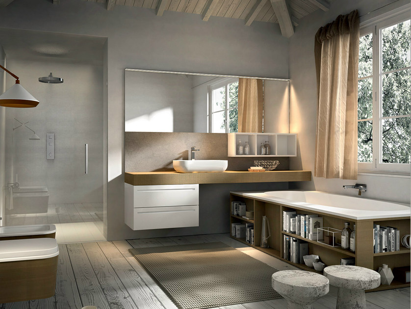 Wall-mounted vanity unit with mirror KER 320 - Edoné by Agorà Group
