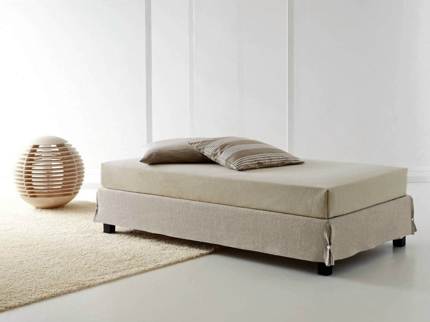 Single bed with removable cover WHITE SOMMIER by horm