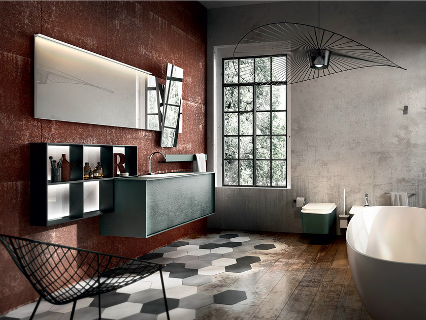 Wall-mounted resin vanity unit with mirror REGOLO 322 - Edoné by Agorà Group