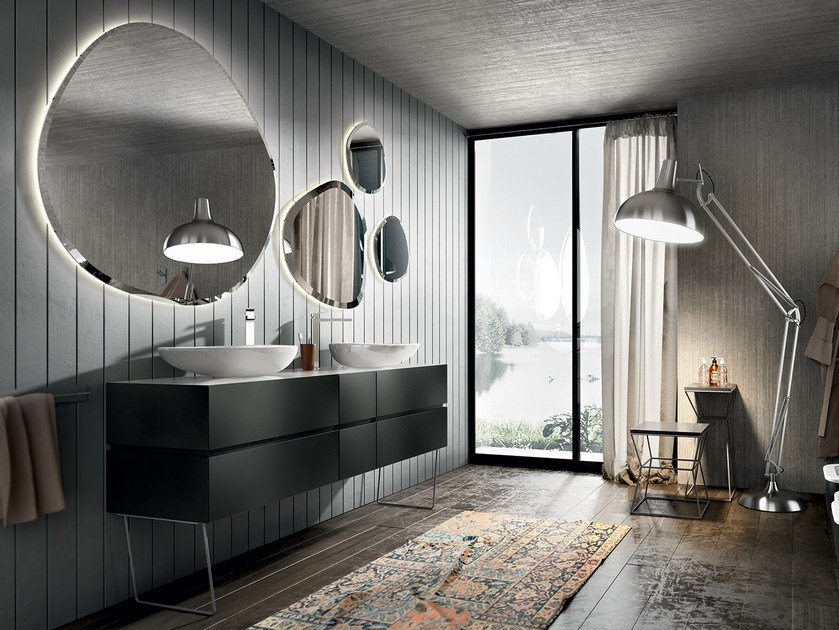 Double lacquered vanity unit with mirror NIKE 327 - Edoné by Agorà Group