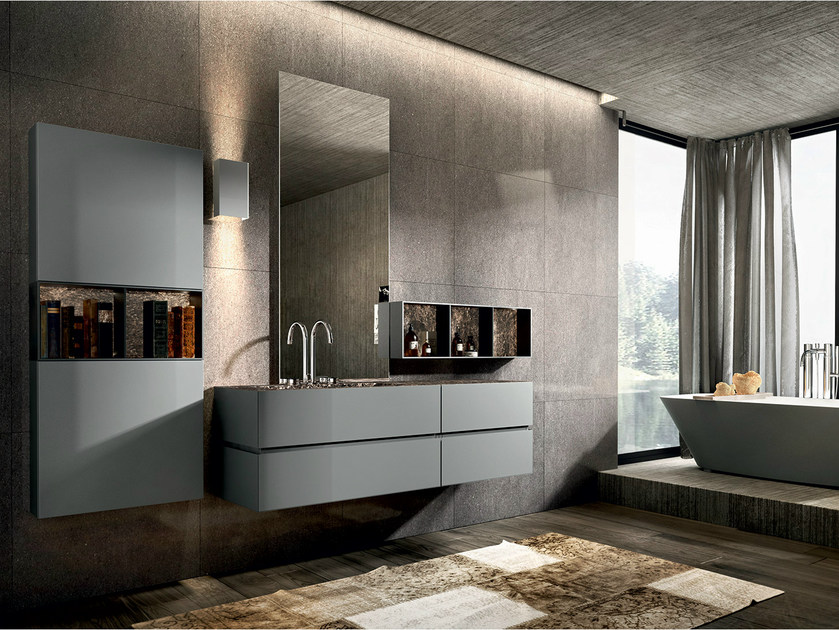 Lacquered wall-mounted vanity unit with cabinets NIKE 330 - Edoné by Agorà Group