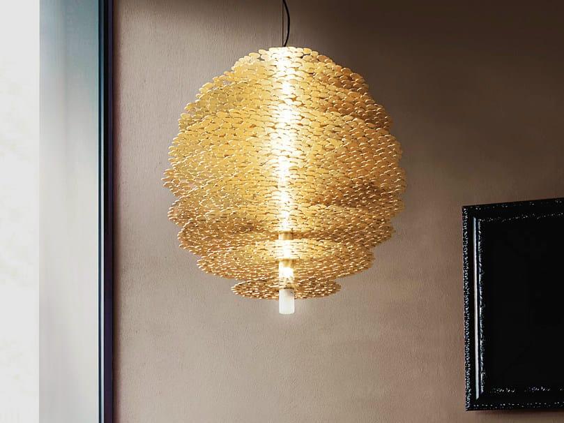 Halogen gold leaf pendant lamp TRESOR | Gold leaf pendant lamp - TERZANI
