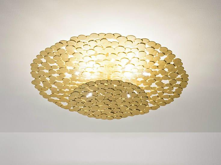 Halogen gold leaf ceiling lamp TRESOR | Ceiling lamp - TERZANI