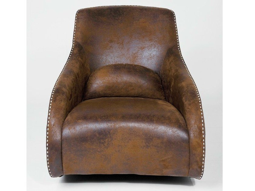 Relaxing leather armchair with armrests RITMO VINTAGE ECO - KARE-DESIGN