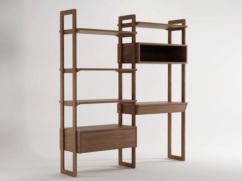 Open wooden bookcase with drawers K/WSU | Freestanding bookcase - KARPENTER