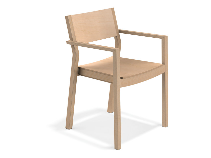 Wooden chair with armrests WOODY | Wooden chair - Casala