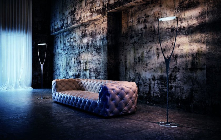 Carbon fibre floor lamp with dimmer DREAM PT - Vetreria Vistosi