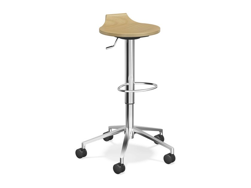 Wooden stool with casters RAVELLE V | Wooden stool - Casala