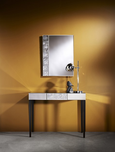 Contemporary style rectangular glass console table with drawers LOLLI TABLE | Contemporary style console table - DEKNUDT MIRRORS