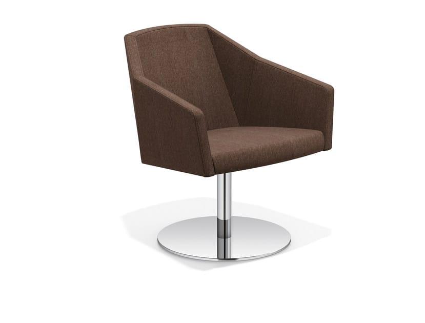 Swivel trestle-based easy chair PARKER V | Swivel easy chair - Casala