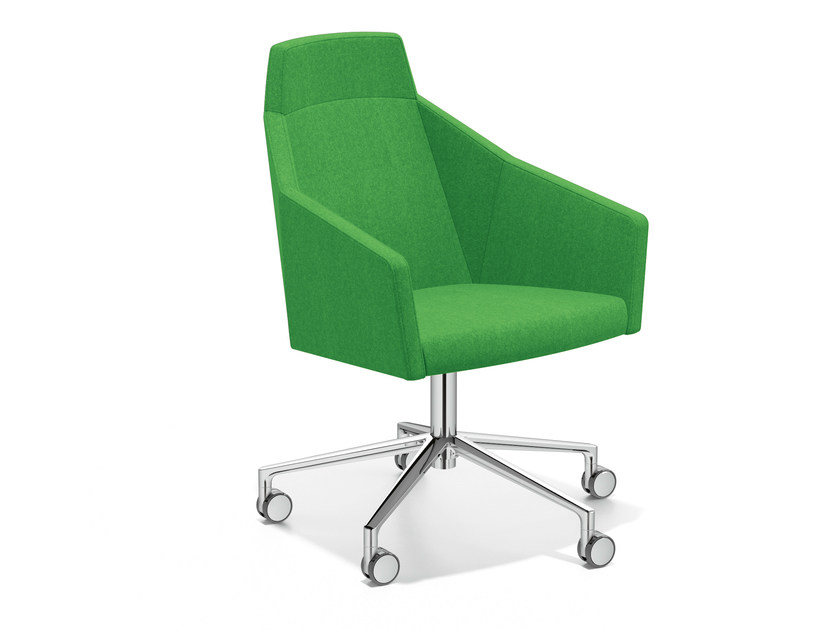 Easy chair with 5-spoke base with casters PARKER VI | Easy chair with casters - Casala