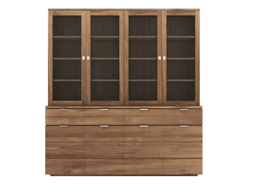 Wood and glass highboard with doors TEAK GROOVE | Wood and glass highboard - Ethnicraft