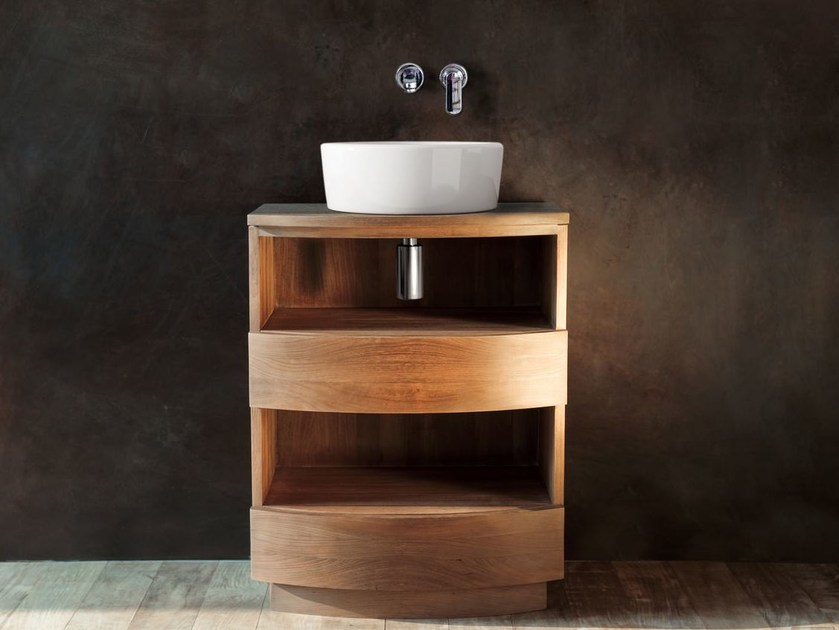 Floor-standing single wooden vanity unit with drawers MILES | Vanity unit - KARPENTER
