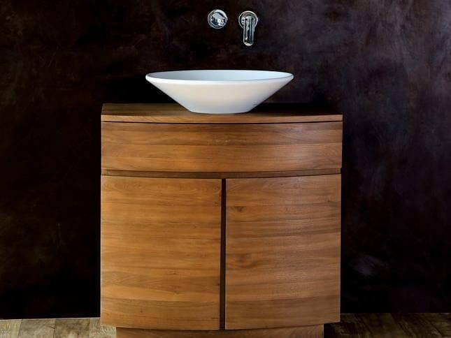 Floor-standing single wooden vanity unit with drawers MILES | Floor-standing vanity unit - KARPENTER