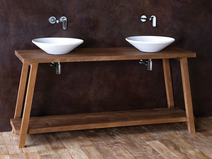 Floor-standing wooden console sink MONK | Console sink - KARPENTER