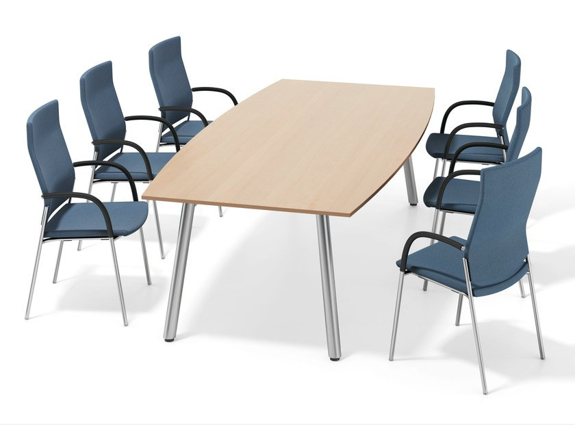 Rectangular wooden meeting table WISHBONE IV | Rectangular meeting table - Casala
