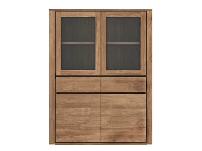 Wood and glass highboard with doors TEAK ELEMENTAL | Wood and glass highboard - Ethnicraft