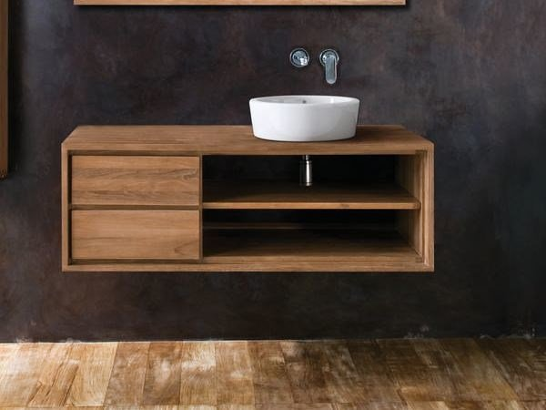 Single wall-mounted wooden vanity unit with drawers PARKER | Vanity unit - KARPENTER