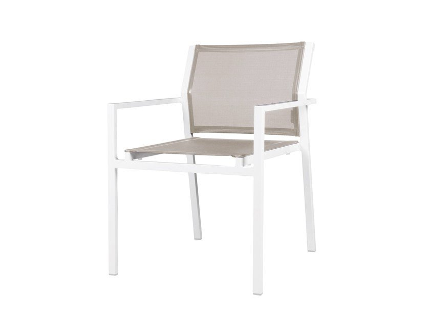 Stackable aluminium garden chair with armrests ALLUX | Chair with armrests - MAMAGREEN