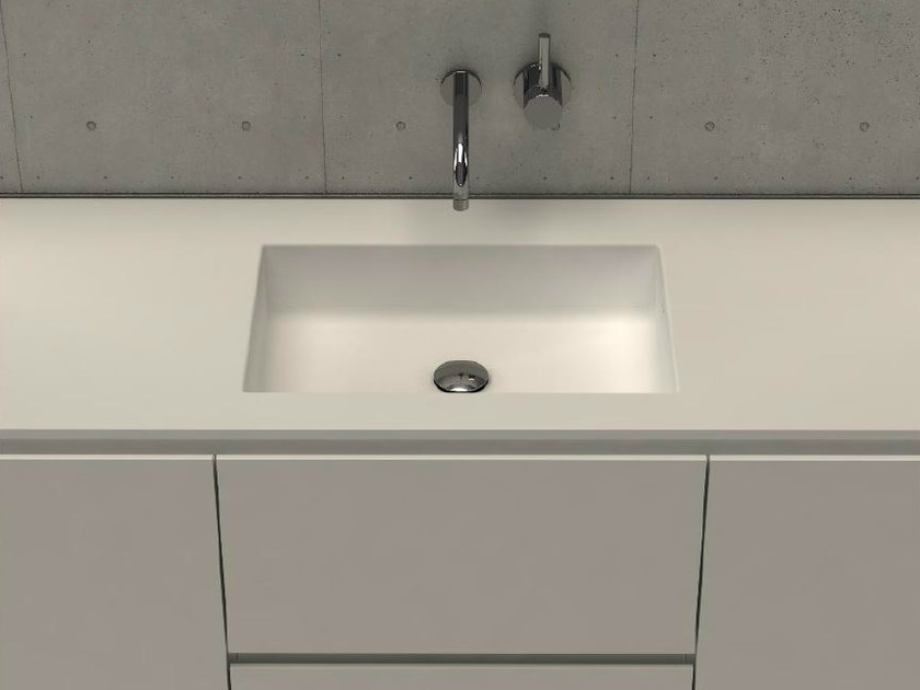 Inset rectangular washbasin with integrated countertop MODUL DESK 50 - DIMASI BATHROOM by Archiplast