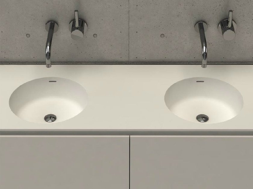 Inset round washbasin with integrated countertop CIRCLE TOP D by DIMASI BATHROOM