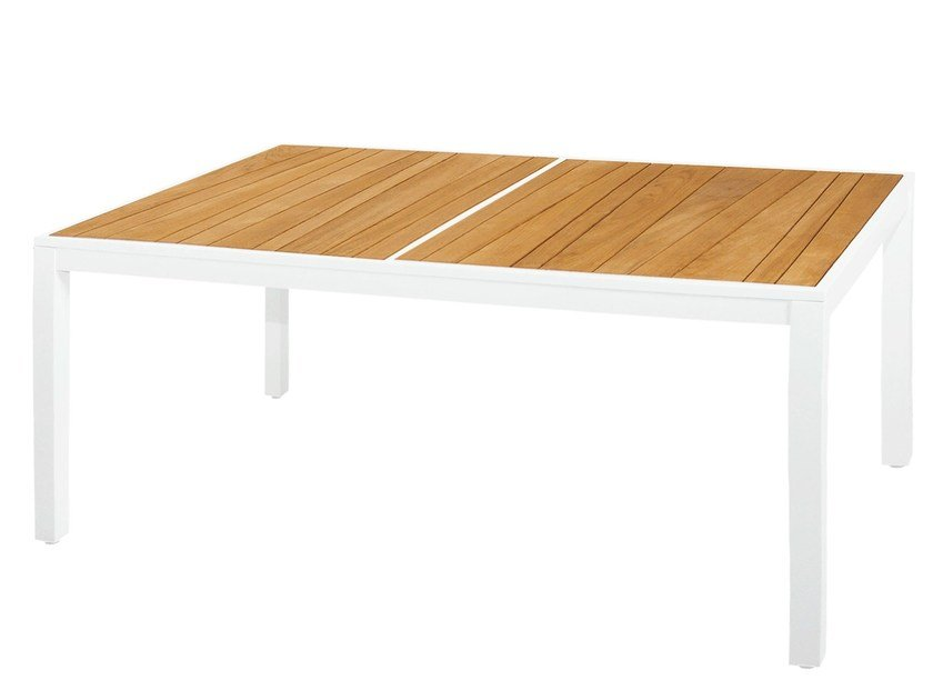 Rectangular aluminium and wood garden table ALLUX | Dining Table 160x100 cm - MAMAGREEN