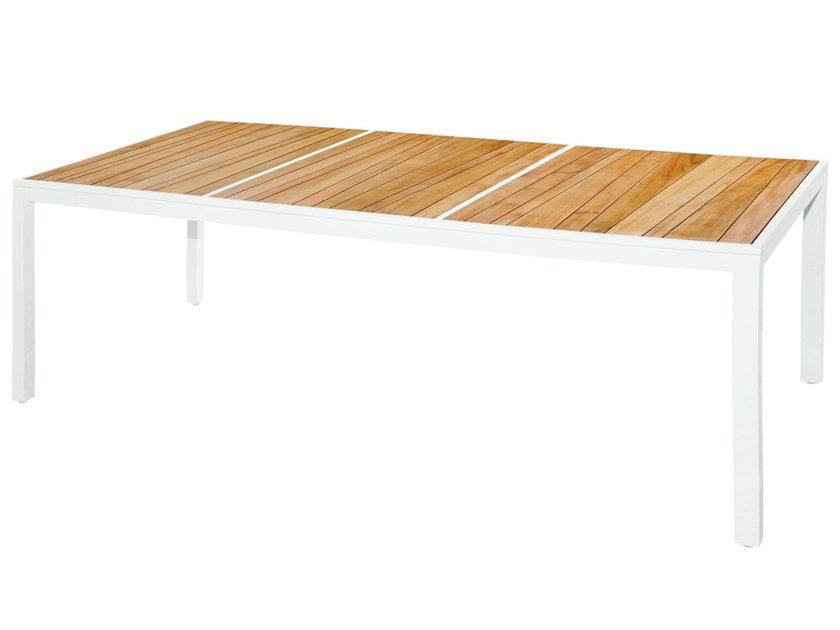 Rectangular aluminium and wood garden table ALLUX | Dining Table 220x100 cm - MAMAGREEN