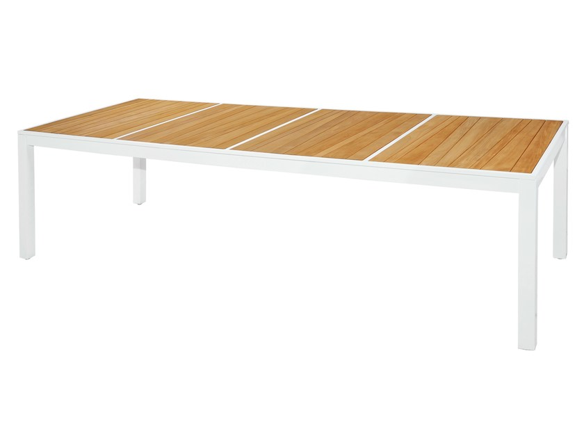 Rectangular aluminium and wood garden table ALLUX | Dining Table 270x100 cm - MAMAGREEN