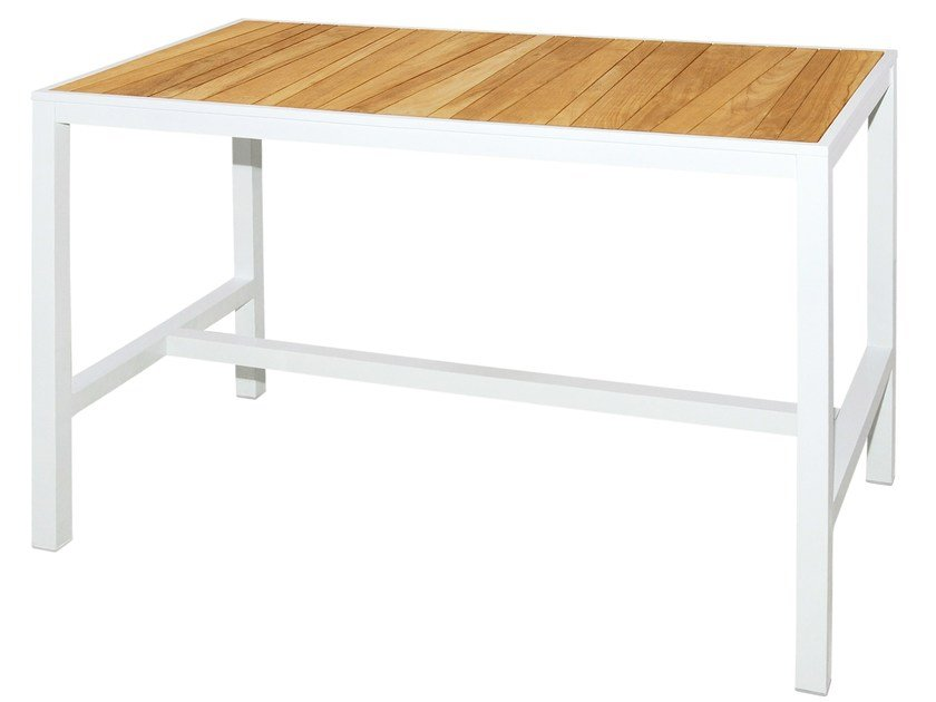 Rectangular aluminium and wood high table ALLUX | Bar Table 150x180 cm - MAMAGREEN